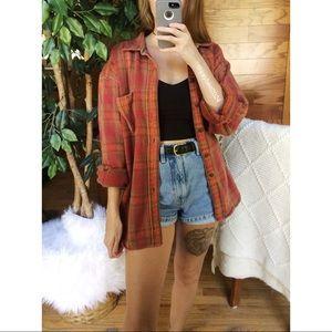 🌿 Vintage Cozy Autumn Plaid Boyfriend Flannel 🌿